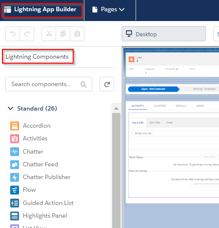 Salesforce Lightning Now Tour App Builder